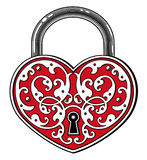 Heart shaped padlock in vintage engraved style Stock Photo