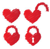 Heart shaped padlocks Stock Photos