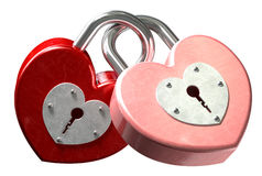 Heart Shaped Padlocks Linked Front. A front view of two locked together heart shaped pink and red metal padlocks on an isolated background Stock Image