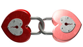 Heart Shaped Padlocks Linked Front Royalty Free Stock Image