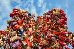 Heart-shaped Padlocks Stock Images