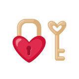 Heart shaped Padock icon with key. Royalty Free Stock Image