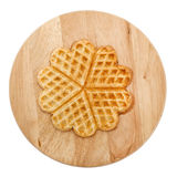 Heart shaped pancake on round board Royalty Free Stock Images