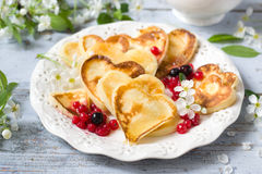 Heart shaped pancakes Stock Photo