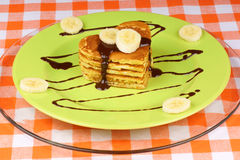 Heart shaped pancakes with chocolate and banana Stock Photography