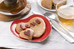 Heart shaped pancakes stock photos