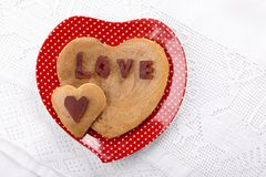 Heart shaped pancakes stock images