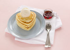 Heart Shaped Pancakes Stock Photo