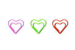Heart shaped paper clip Royalty Free Stock Images