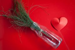 Heart-shaped paper and glass jar Arrange as background. This is the symbol of love. For In February 14th, which was a day of love Stock Photos