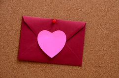 Heart shaped paper notes with envelope Royalty Free Stock Image
