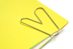 Heart-shaped paperclip Royalty Free Stock Photography