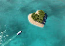 Heart Shaped Paradise Island Royalty Free Stock Photography