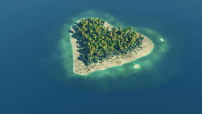 Heart shaped paradise island at ocean stock video footage
