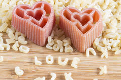 Heart shaped pasta Stock Images
