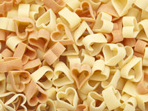 Heart shaped pasta background Royalty Free Stock Image