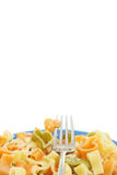 Heart shaped pasta with a fork Royalty Free Stock Photos