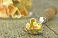 Heart shaped pasta on a fork Royalty Free Stock Photo