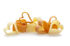 Heart shaped pasta isolated on white Royalty Free Stock Photos
