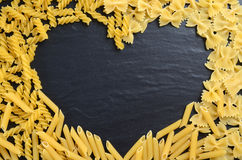 Heart shaped pasta Royalty Free Stock Image