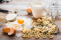 Heart shaped pasta Stock Image
