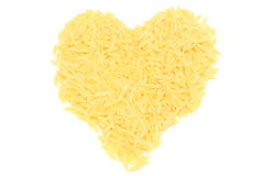 Heart shaped pasta on white background Stock Photography