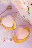 Heart shaped pastel pink chocolate mousse cakes Stock Image