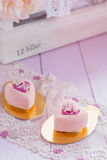 Heart shaped pastel pink chocolate mousse cakes Royalty Free Stock Photography