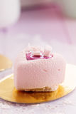 Heart shaped pastel pink chocolate mousse cakes Royalty Free Stock Photo