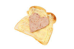 Heart shaped pate on toast Royalty Free Stock Photos