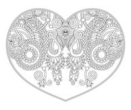 Heart shaped pattern for adult and older children coloring book Royalty Free Stock Photo