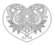 Heart shaped pattern for adult and older children coloring book Royalty Free Stock Photos