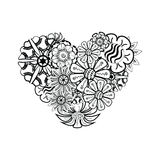 Heart-shaped pattern for coloring book. Floral, retro, doodle Royalty Free Stock Photos