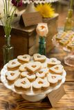 Heart shaped Peach Linzer cookies Stock Image