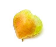 Heart shaped pear isolated over white. Stock Photo