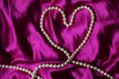 Heart shaped pearl necklace Royalty Free Stock Photography