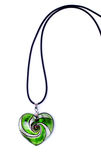 Heart-shaped pendant. Green heart-shaped pendant isolated on white background royalty free stock photo