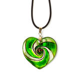 Heart-shaped pendant. Green heart-shaped pendant isolated on white background stock images