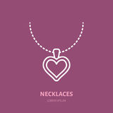 Heart shaped pendant on chain illustration. Flat line icon, jewelry store logo. Jewels accessories sign vector illustration