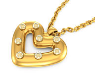 Heart-shaped pendant with diamonds Royalty Free Stock Image
