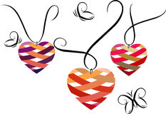 Heart shaped pendants. Vector illustration with beautiful heart shaped pendants Royalty Free Stock Images