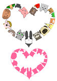 Heart shaped pet animals border set Stock Photography