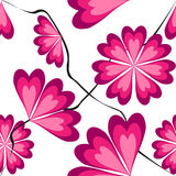 Heart-shaped petals in pink tints. Seamless pattern with heart-shaped petals in pink tints stock illustration