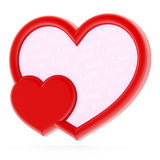 Heart-shaped photo frame. Red heart-shaped photo frame on white background Stock Photography