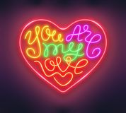 Heart shaped phrase You Are My Love made of neon tubes. Romantic design. Vector illustration vector illustration