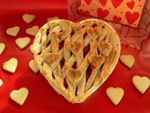 Heart-Shaped Pie. Photo of heart shaped pie and cookies Stock Photo