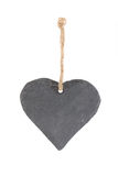 Heart shaped piece of slate on white Royalty Free Stock Photos