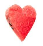 Heart shaped piece of watermelon Stock Photos
