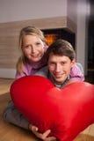 Heart-shaped pillow Stock Photos