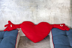 Heart-shaped pillow Stock Images